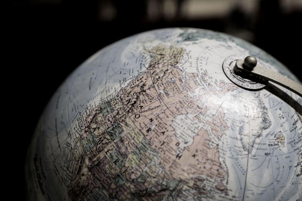 North America on a world globe