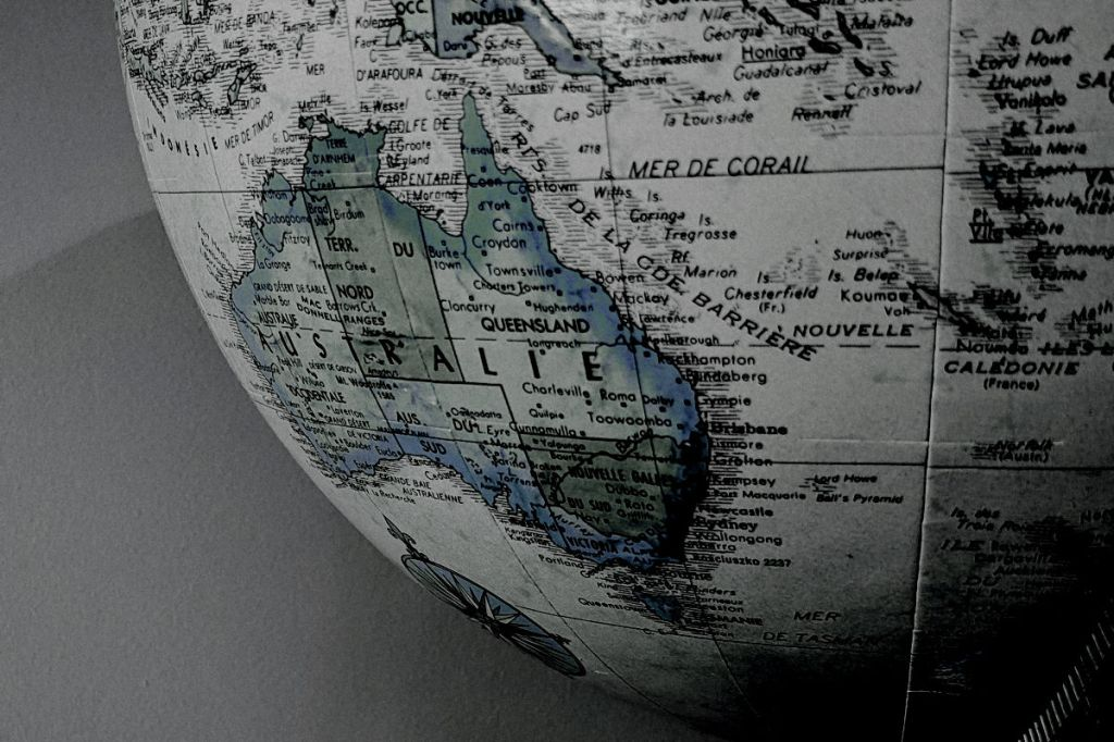 Australia on a world globe