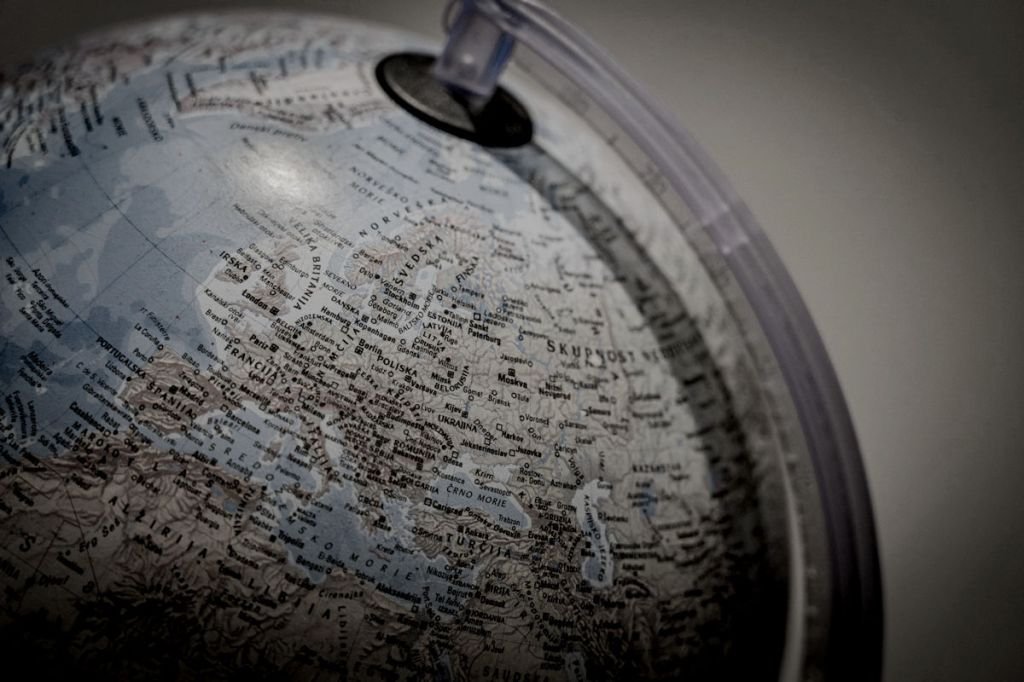 Europe, the Middle East & Africa on a world globe